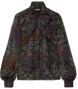 Co Pussy-bow Floral-print Silk-chiffon Blouse - Black