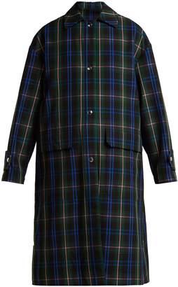 MSGM Floral-panel tartan-twill coat