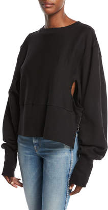 Tre By Natalie Ratabesi The Editor Crewneck Sweatshirt with Zippers