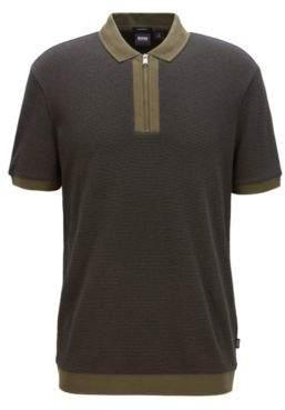 BOSS Hugo Relaxed-fit polo shirt in cotton zipper neck M Dark Green