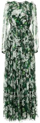 Dolce & Gabbana white geranium printed maxi dress