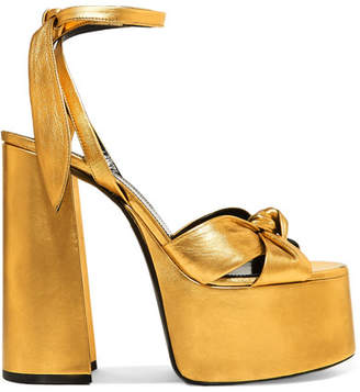 ec820a0285c4 Saint Laurent Paige Metallic Leather Platform Sandals - Gold