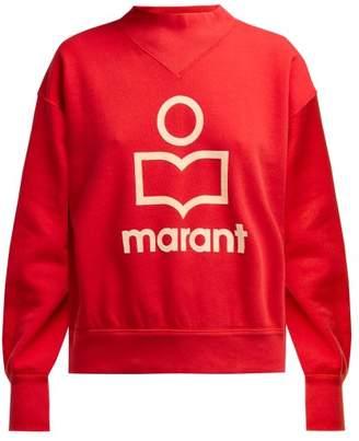 Etoile Isabel Marant Moby Flocked Logo Cotton Blend Sweatshirt - Womens - Red