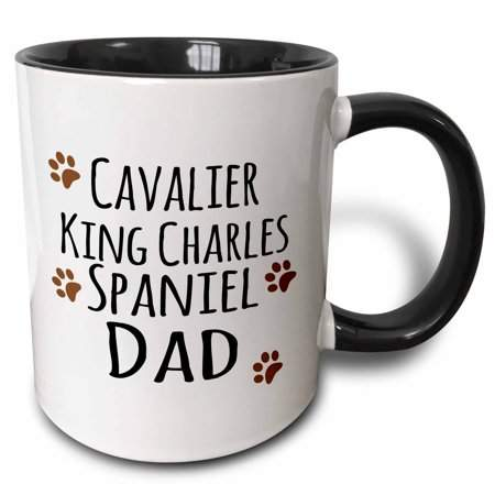 3dRose Cavalier King Charles Spaniel Dog Dad - Doggie by breed - brown muddy paw prints - doggy lover owner - Two Tone Black Mug, 11-ounce