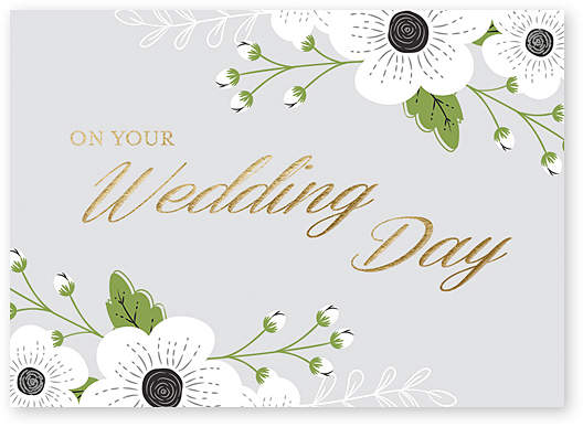 'Wedding Day' Floral Greeting Card - Set of Six