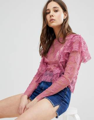 Glamorous Lace Top With Frills