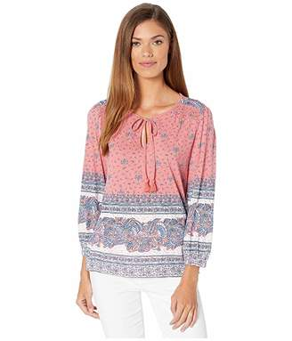 Lucky Brand 3/4 Sleeve Placed Print Knit Peasant Top