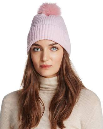 Raffaello Bettini Fox Fur & Cashmere Ribbed Pom-Pom Beanie - 100% Exclusive