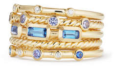 David Yurman Novella 18k Multi-Stack Ring, Diamond/Sapphire, Size 8