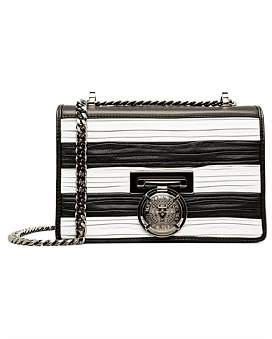 Balmain Flap Bag Bbox 20 Stripes-Pleated Smooth Leather