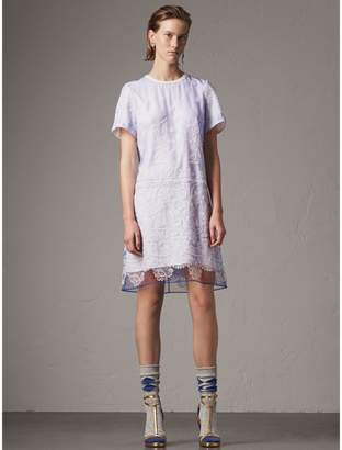 Burberry Floral-embroidered Tulle T-shirt Dress