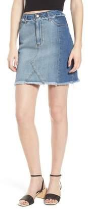 AFRM Color Block Denim Skirt