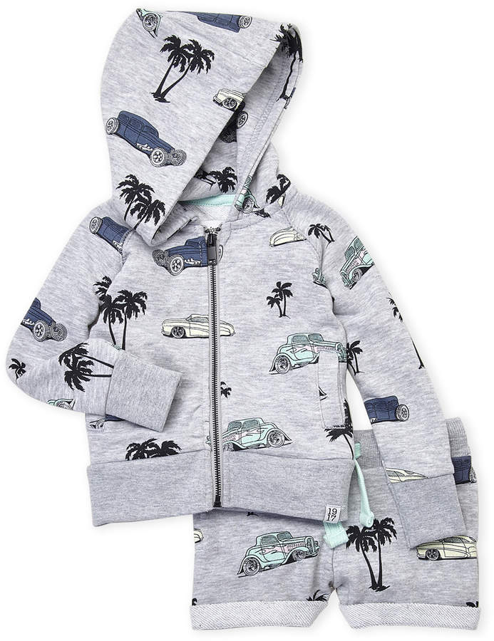 Infant Boys) Two-Piece Printed Zip Hoodie & Shorts Set