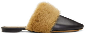 Givenchy Black Mink Slippers