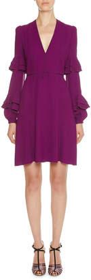 Giambattista Valli Double-Tiered Ruffle-Sleeve Crepe Dress