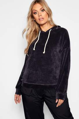 boohoo Plus Velour Hooded Oversized Sweat