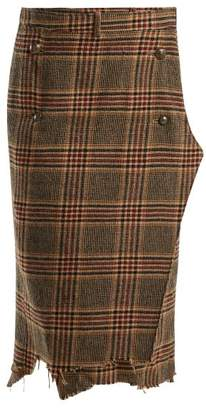 Vetements Tweed Checked Pencil Skirt - Womens - Brown Multi
