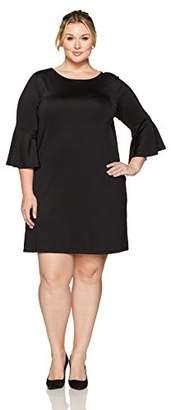 Kasper Women's Plus Size Long Bell Sleeve Dress