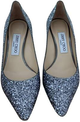 Jimmy Choo Esme Silver Glitter Heels