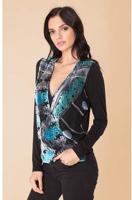 235b9db1b6d306 Hale Bob Saveen Silk Velvet Burnout Wrap Top