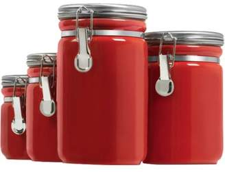 Anchor Hocking 4-Piece Ceramic Canister Set, Red