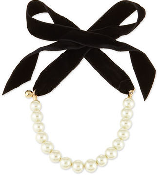 Lulu Frost Pearly Choker Necklace with Velvet Bow $275 thestylecure.com