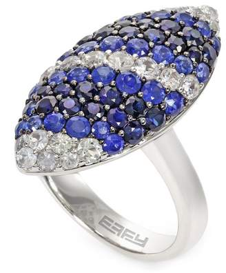 Effy Sterling Silver White & Blue Sapphire Marquise Ring