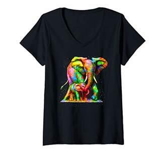 Womens Baby Elephant Mom Elephant Cute TShirt White Elephant Love V-Neck T-Shirt