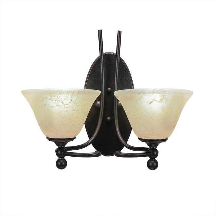 Cambridge Silversmiths Cambridge 2-Light Dark Granite Sconce with Amber Marbleized Glass
