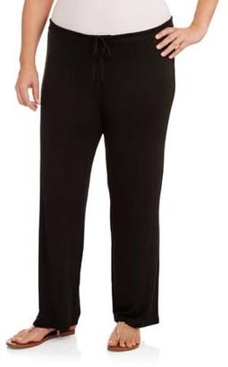 24/7 Comfort Apparel Women's Plus Drawstring Straight Leg Pants