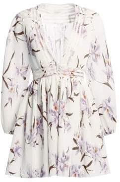Zimmermann Women's Corsage Plisse Orchid-Print Mini Dress - Lilac Ivory - Size 0 (2-4)