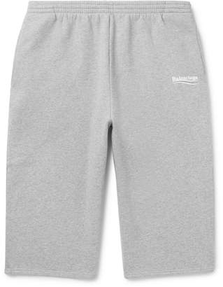 Balenciaga Printed Mélange Fleece-Back Cotton-Blend Jersey Drawstring Shorts