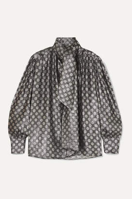 Dodo Bar Or Kelly Tie-neck Metallic Silk-blend Jacquard Blouse - Silver