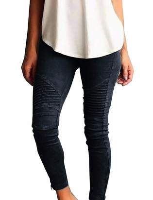 Imagine Women High Waisted Stretchy Skinny Trousers Jegging Pencil Pants(Re,2XL)