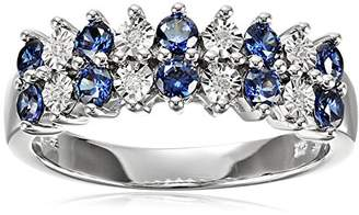Sterling Silver Double Row Alternate Tanzanite and White Cubic Zirconia Ring