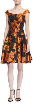 Zac Posen Transparent Jacquard Fit-and-Flare Dress