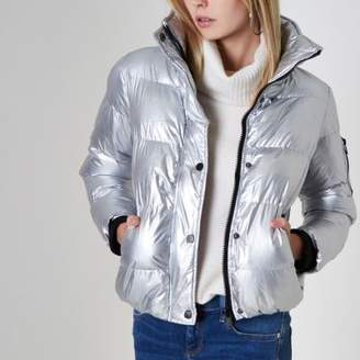 River Island Womens Silver metallic puffer jacket