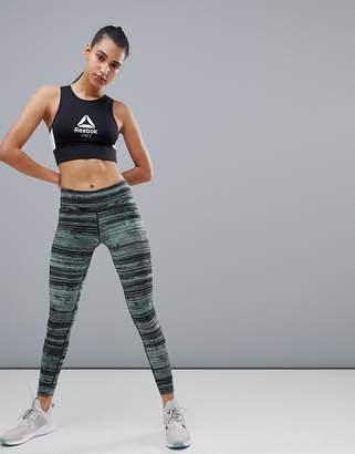 Reebok Training Green Stripe Printed Leggings