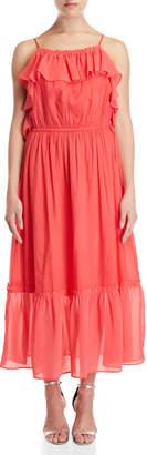 Gaudi' Gaudi Coral Ruffled Maxi Dress
