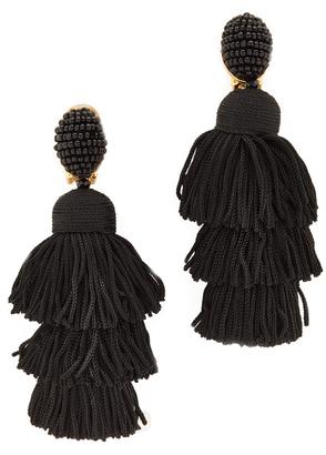 Oscar de la Renta Long Silk Tiered Tassel Clip On Earrings $450 thestylecure.com