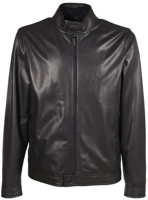 Z Zegna Leather Bomber Jacket