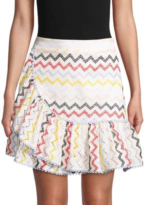 Allison New York Eyelet Ruffled Cotton Mini Skirt