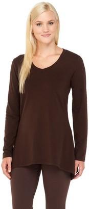 Denim & Co. Perfect Jersey Long Sleeve V-Neck Trapeze Hem Top