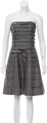 Carmen Marc Valvo Silk Tiered Dress