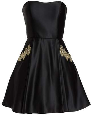 Blondie Nites Satin Applique Party Dress