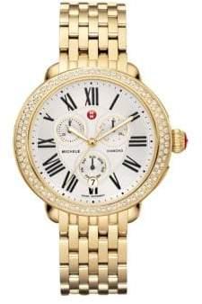 Michele Serein Diamond& 18K Goldplated Stainless Steel Chronograph Bracelet Watch