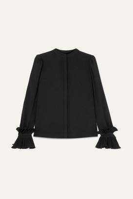 Co Ruffled Crepe Blouse - Black