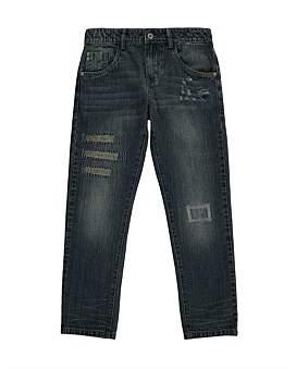 (&US) Blue Rip & Repair Straight Leg Jeans