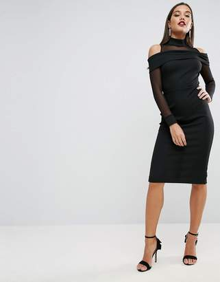 Asos Pencil Dress In Rib With Mesh Detail and Cold Shoulder