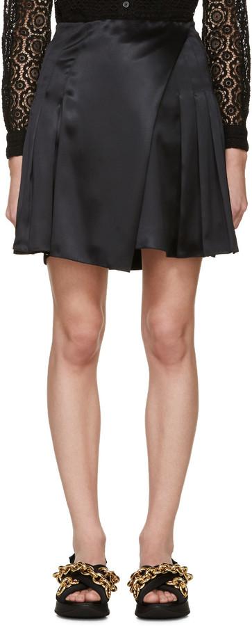 Burberry Prorsum Black Silk Pleated Wrap Skirt